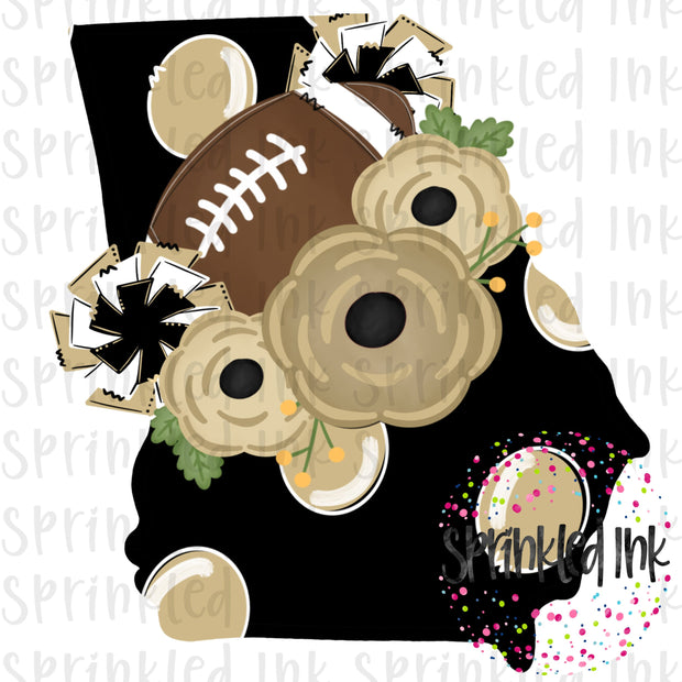 Watercolor PNG Georgia Black and Gold Floral Football State Download File - Sprinkled Ink Digital Designs