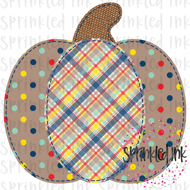 Watercolor PNG Faux Applique Boys Fall Pumpkin Digital Download File - Sprinkled Ink Digital Designs