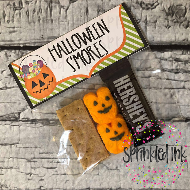 Watercolor PNG Halloween Treat Bag Topper 6.5 x 4 For Sandwich Bags  Digital Download File - Sprinkled Ink Digital Designs