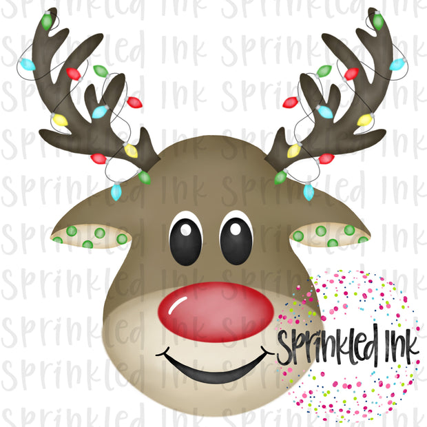 Watercolor PNG Reindeer Boy with Lights Download File - Sprinkled Ink Digital Designs