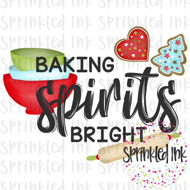 Watercolor PNG Christmas Baking Spirits Bright Download File - Sprinkled Ink Digital Designs
