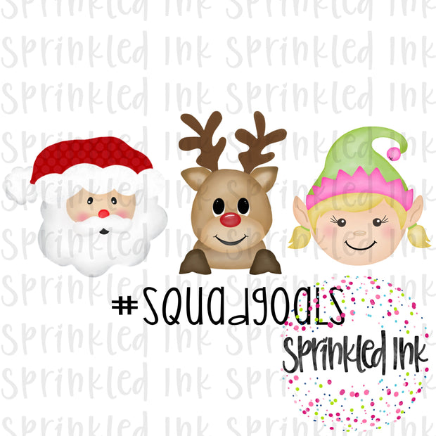 Watercolor PNG Christmas Squad Goals Girl Download File - Sprinkled Ink Digital Designs