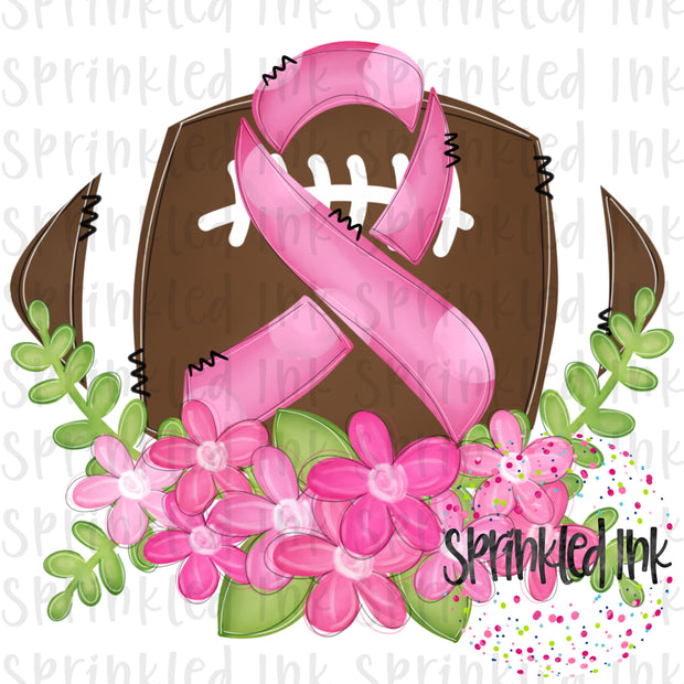 Watercolor PNG Breast Cancer Awareness Floral Football Download File - Sprinkled Ink Digital Designs
