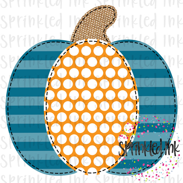 Watercolor PNG Faux Applique Pumpkin Boys Aqua Stripe Digital Download File - Sprinkled Ink Digital Designs
