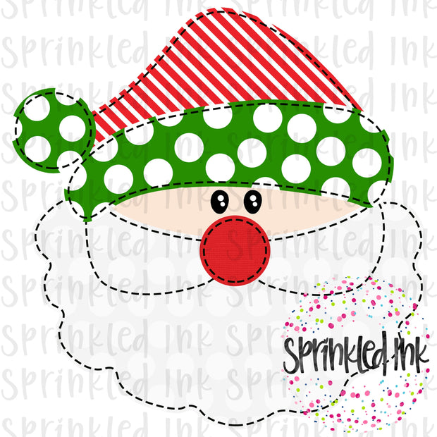 Watercolor PNG Faux Applique Santa Red and Green Hat Download File - Sprinkled Ink Digital Designs