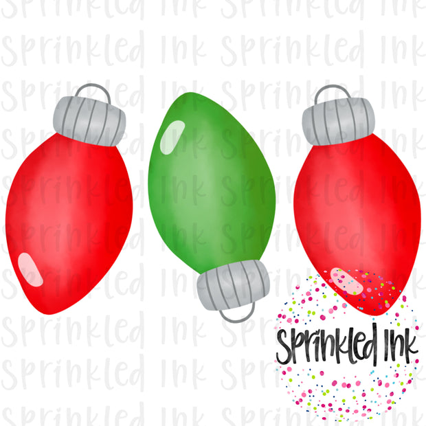 Watercolor PNG Red and Green Christmas Light Bulb Trio Download File - Sprinkled Ink Digital Designs
