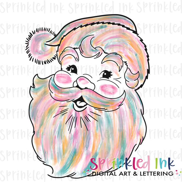 Watercolor PNG Vintage Abstract Santa Download File - Sprinkled Ink Digital Designs