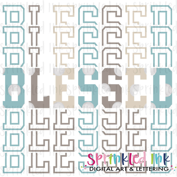 Watercolor PNG Blessed Stacked Words Download File - Sprinkled Ink Digital Designs
