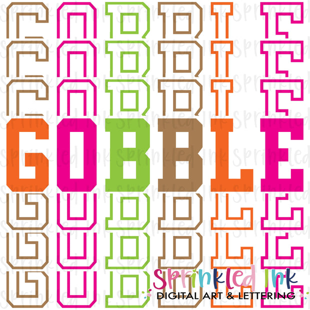 Watercolor PNG Gobble Stacked Words Bright Download File - Sprinkled Ink Digital Designs