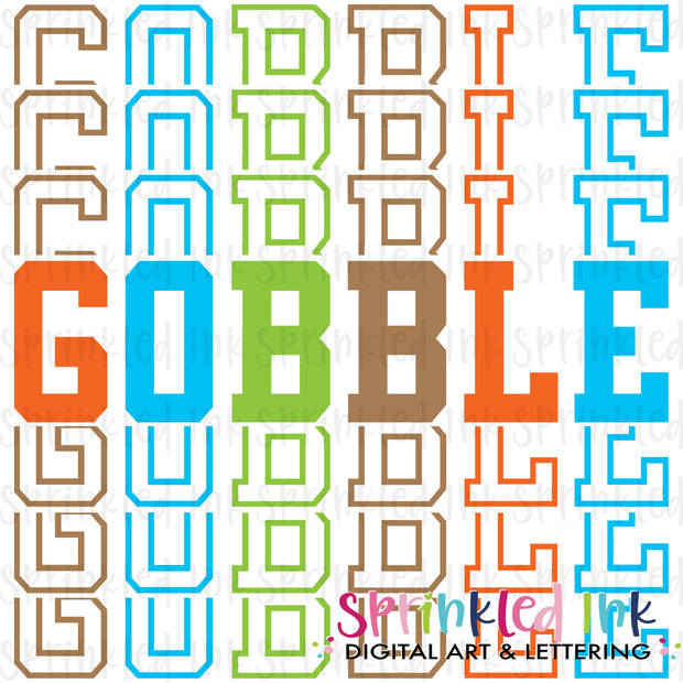Watercolor PNG Gobble Stacked Words Boy Download File - Sprinkled Ink Digital Designs