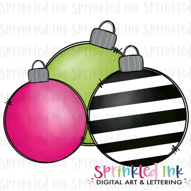 Watercolor PNG Bright Stripe Ornament Cluster Download File - Sprinkled Ink Digital Designs
