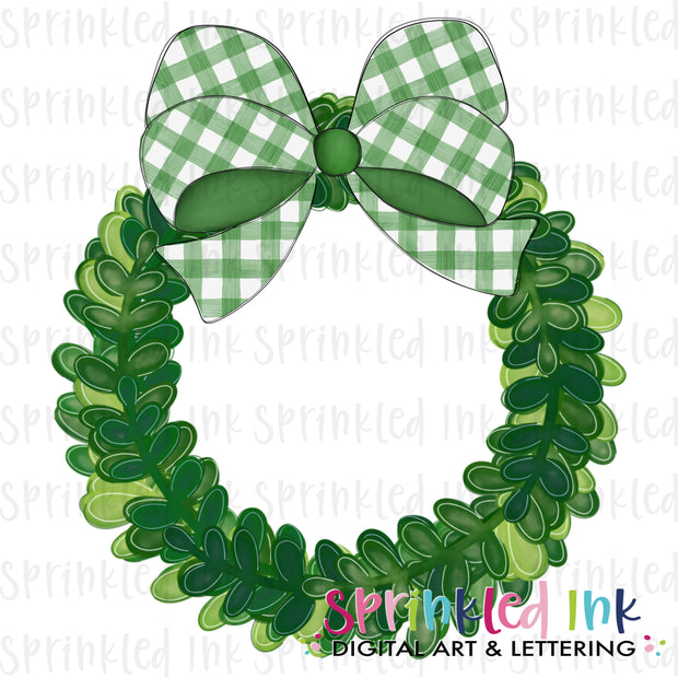 Watercolor PNG Boxwood Wreath with Green Gingham Bow Download File - Sprinkled Ink Digital Designs