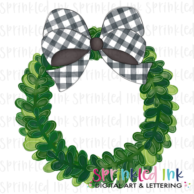 Watercolor PNG Boxwood Wreath with Black Gingham Bow Download File - Sprinkled Ink Digital Designs