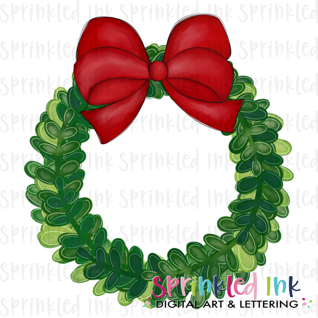 Watercolor PNG Boxwood Christmas Wreath with Red Bow Download File - Sprinkled Ink Digital Designs