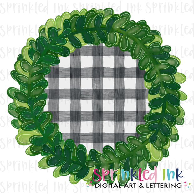 Watercolor PNG Boxwood Wreath with Gingham Insert Download File - Sprinkled Ink Digital Designs