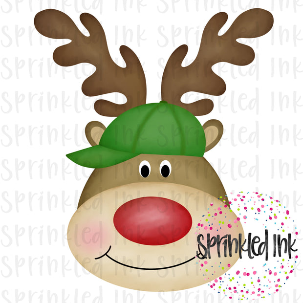 Watercolor PNG Reindeer Boy with Green Hat Download File - Sprinkled Ink Digital Designs