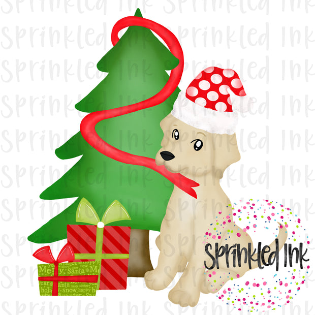 Watercolor PNG Naughty Christmas Lab Puppy Download File - Sprinkled Ink Digital Designs