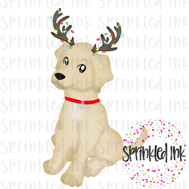 Watercolor PNG Christmas Lab Puppy with Antlers Download File - Sprinkled Ink Digital Designs