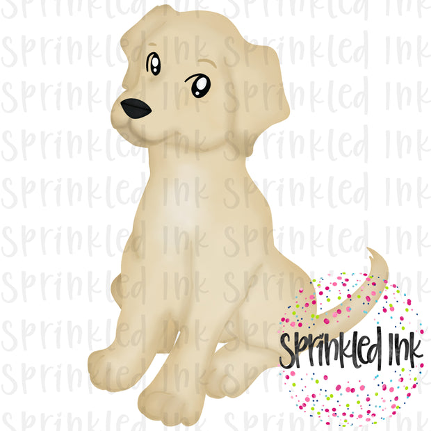 Watercolor PNG Sitting Yellow Lab Download File - Sprinkled Ink Digital Designs