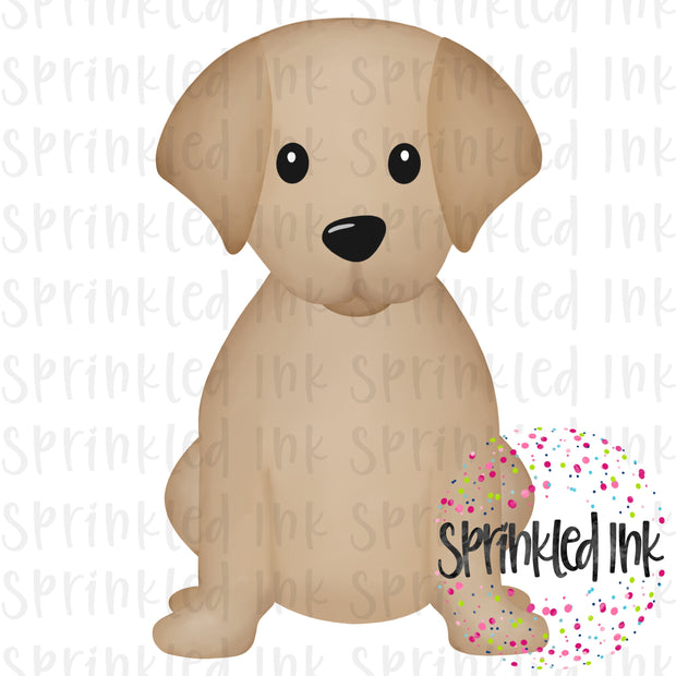Watercolor PNG Sitting Lab Puppy Download File - Sprinkled Ink Digital Designs