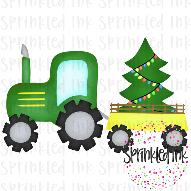Watercolor PNG Green Tractor with Christmas Tree Download File - Sprinkled Ink Digital Designs