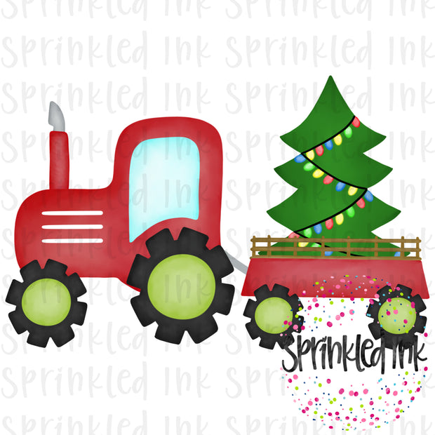Watercolor PNG Red Tractor with Christmas Tree Download File - Sprinkled Ink Digital Designs
