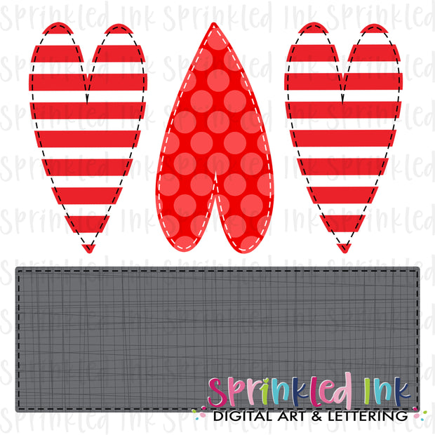 Watercolor PNG Faux Applique Red Heart Trio with Nameplate Download File - Sprinkled Ink Digital Designs