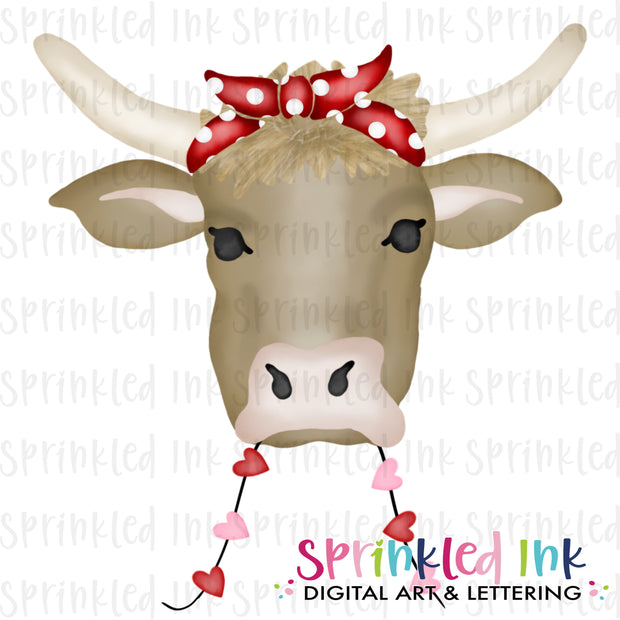 Watercolor PNG Valentine Cow Download File - Sprinkled Ink Digital Designs