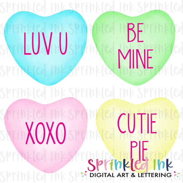 Watercolor PNG Sweetheart Conversation Candy Download File - Sprinkled Ink Digital Designs