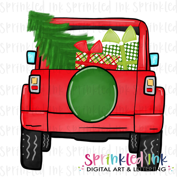 Watercolor PNG Red Christmas Present JEEP Download File - Sprinkled Ink Digital Designs