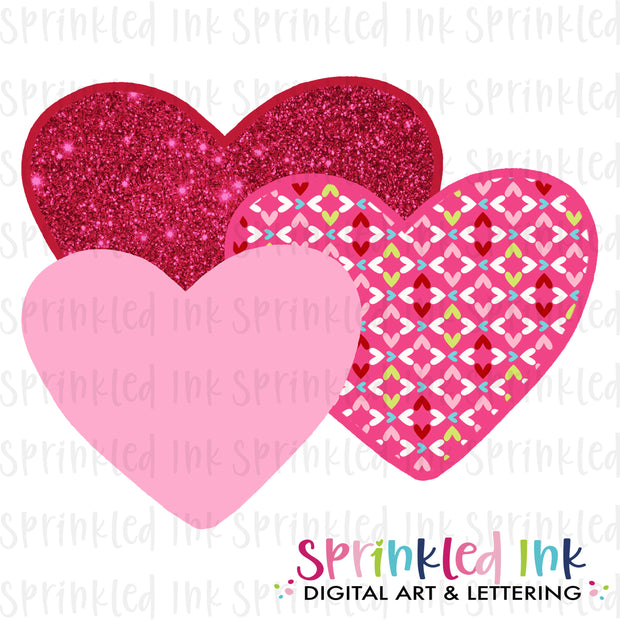 Watercolor PNG Pink Heart Trio Download File - Sprinkled Ink Digital Designs