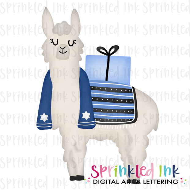Watercolor PNG Hanukkah Llama  Download File - Sprinkled Ink Digital Designs
