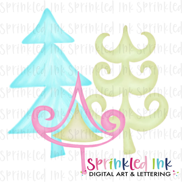 Watercolor PNG Whimsy Yule Trees Download File - Sprinkled Ink Digital Designs