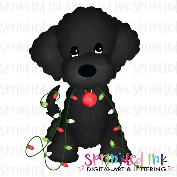 Watercolor PNG Black Doodle with Christmas Lights Download File - Sprinkled Ink Digital Designs