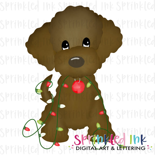 Watercolor PNG Chocolate Doodle with Christmas Lights Download File - Sprinkled Ink Digital Designs