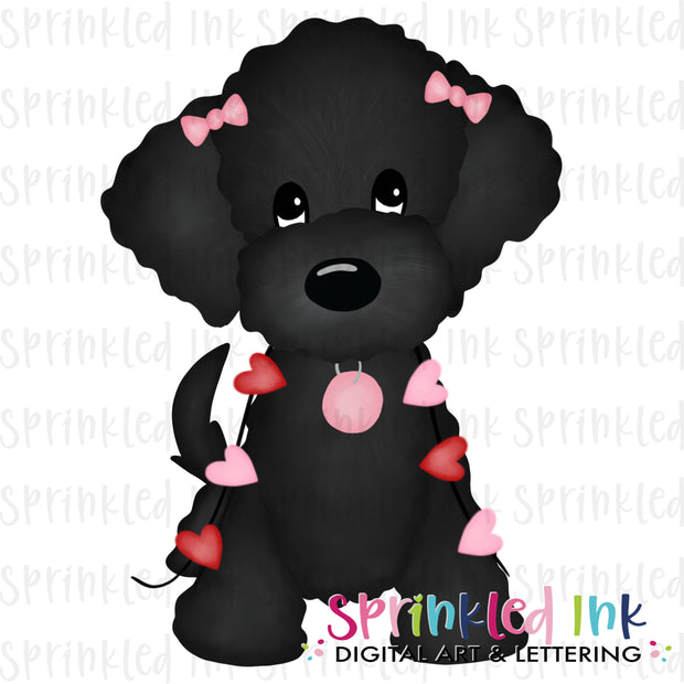 Watercolor PNG Black Doodle Girl with String of Hearts Download File - Sprinkled Ink Digital Designs