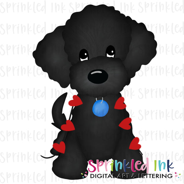 Watercolor PNG Black Doodle with String of Hearts Download File - Sprinkled Ink Digital Designs