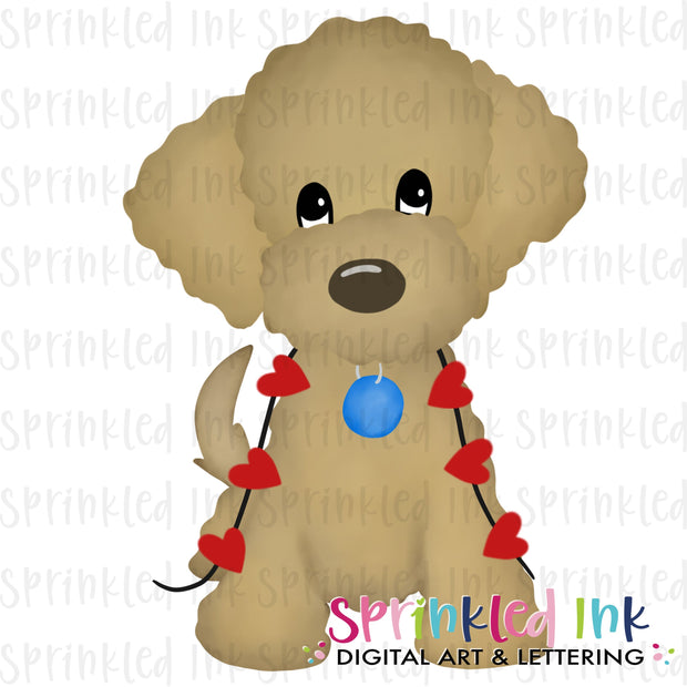 Watercolor PNG Golden Doodle with String of Hearts Download File - Sprinkled Ink Digital Designs