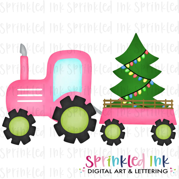 Watercolor PNG Pink Tractor with Christmas Tree Download File - Sprinkled Ink Digital Designs
