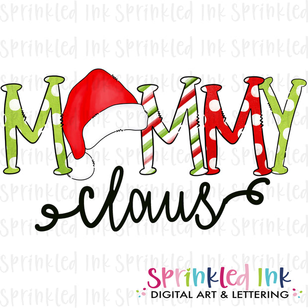 Watercolor PNG Santa Hat Mommy Claus Download File - Sprinkled Ink Digital Designs