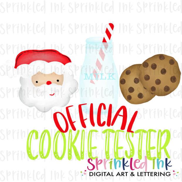 Watercolor PNG Official Cookie Tester Santa Download File - Sprinkled Ink Digital Designs