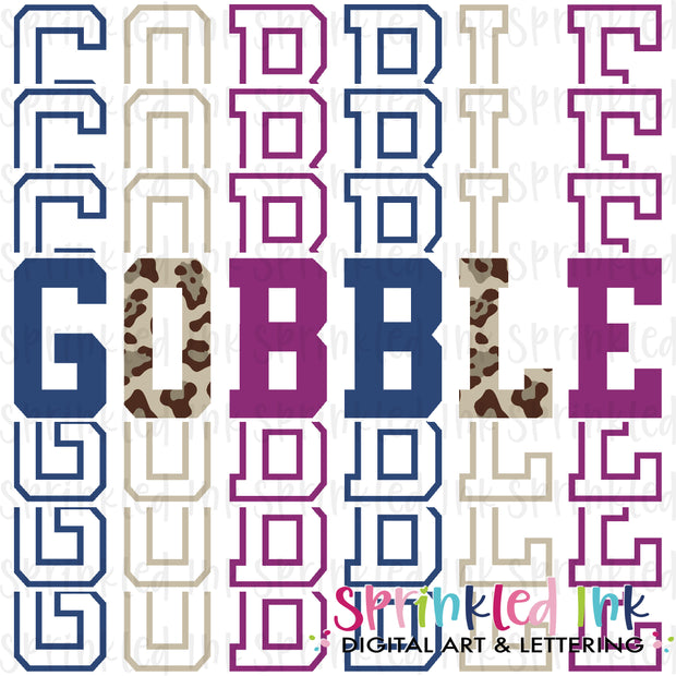 Watercolor PNG Gobble Jewel Tone Leopard Stacked Words Download File - Sprinkled Ink Digital Designs