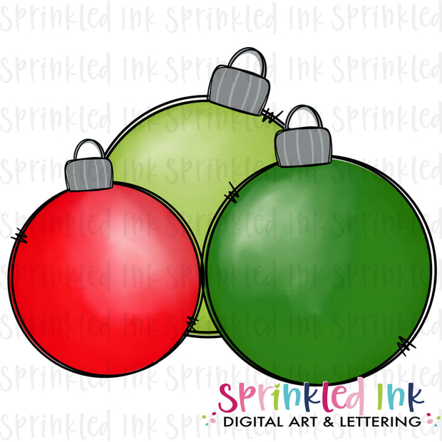 Watercolor PNG Red and Green Ornament Cluster Download File - Sprinkled Ink Digital Designs