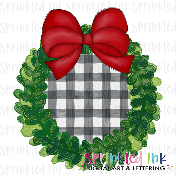 Watercolor PNG Boxwood Christmas Wreath with Gingham Center and Red Bow Download File - Sprinkled Ink Digital Designs