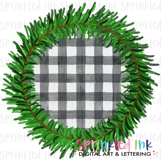 Watercolor PNG Pine Wreath with Gingham Insert Download File - Sprinkled Ink Digital Designs