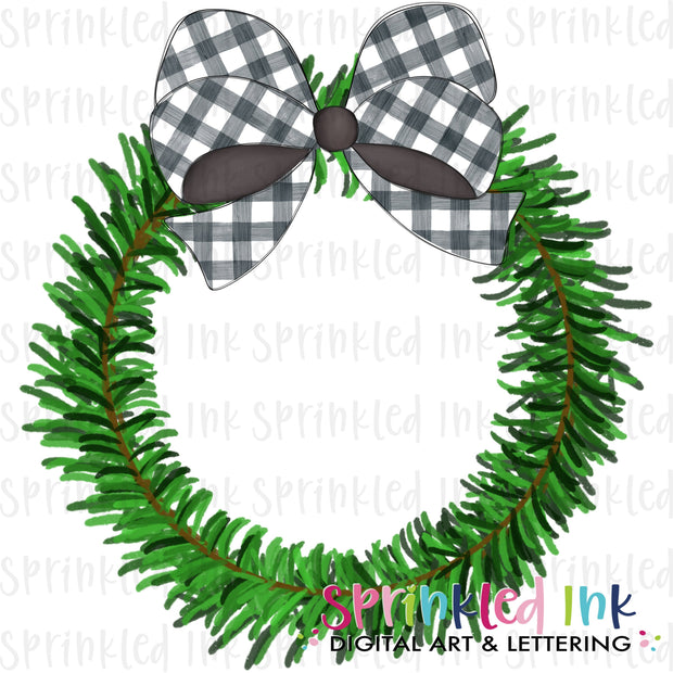 Watercolor PNG Pine Wreath with Black Gingham Bow Download File - Sprinkled Ink Digital Designs