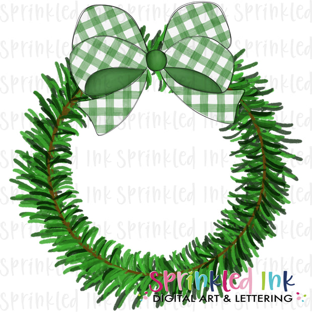 Watercolor PNG Pine Wreath with Green Gingham Bow Download File - Sprinkled Ink Digital Designs