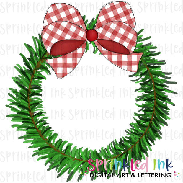 Watercolor PNG Pine Wreath with Red Gingham Bow Download File - Sprinkled Ink Digital Designs