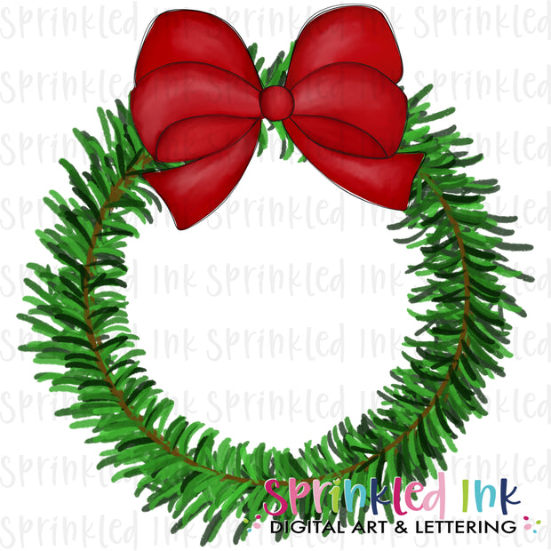 Watercolor PNG Pine Christmas Wreath with Red Bow Download File - Sprinkled Ink Digital Designs