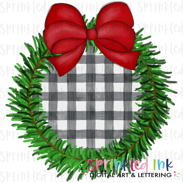 Watercolor PNG Pine Christmas Wreath with Gingham Center and Red Bow Download File - Sprinkled Ink Digital Designs